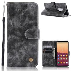 Luxury Retro Leather Wallet Case for Samsung Galaxy S9 Plus(S9+) - Gray