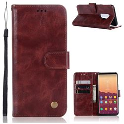 Luxury Retro Leather Wallet Case for Samsung Galaxy S9 Plus(S9+) - Wine Red