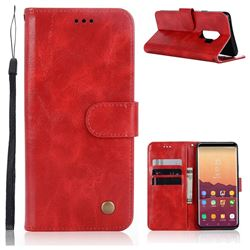 Luxury Retro Leather Wallet Case for Samsung Galaxy S9 Plus(S9+) - Red