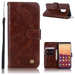 Luxury Retro Leather Wallet Case for Samsung Galaxy S9 Plus(S9+) - Brown
