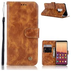 Luxury Retro Leather Wallet Case for Samsung Galaxy S9 Plus(S9+) - Golden