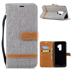Jeans Cowboy Denim Leather Wallet Case for Samsung Galaxy S9 Plus(S9+) - Gray