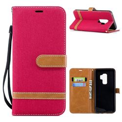 Jeans Cowboy Denim Leather Wallet Case for Samsung Galaxy S9 Plus(S9+) - Red
