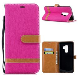 Jeans Cowboy Denim Leather Wallet Case for Samsung Galaxy S9 Plus(S9+) - Rose