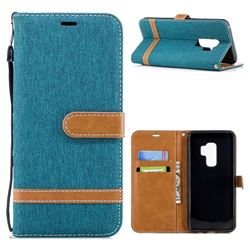 Jeans Cowboy Denim Leather Wallet Case for Samsung Galaxy S9 Plus(S9+) - Green