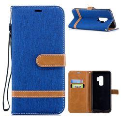 Jeans Cowboy Denim Leather Wallet Case for Samsung Galaxy S9 Plus(S9+) - Sapphire