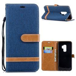 Jeans Cowboy Denim Leather Wallet Case for Samsung Galaxy S9 Plus(S9+) - Dark Blue