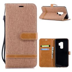 Jeans Cowboy Denim Leather Wallet Case for Samsung Galaxy S9 Plus(S9+) - Brown