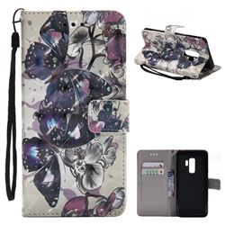 Black Butterfly 3D Painted Leather Wallet Case for Samsung Galaxy S9 Plus(S9+)