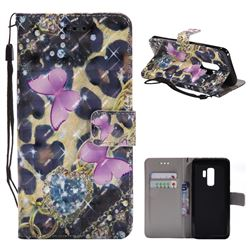Pink Butterfly 3D Painted Leather Wallet Case for Samsung Galaxy S9 Plus(S9+)