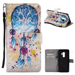 Blue Dream Catcher 3D Painted Leather Wallet Case for Samsung Galaxy S9 Plus(S9+)