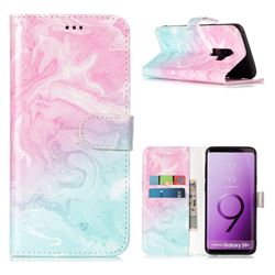 Pink Green Marble PU Leather Wallet Case for Samsung Galaxy S9 Plus(S9+)