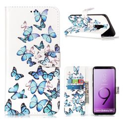 Blue Vivid Butterflies PU Leather Wallet Case for Samsung Galaxy S9 Plus(S9+)
