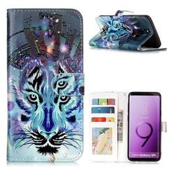 Ice Wolf 3D Relief Oil PU Leather Wallet Case for Samsung Galaxy S9 Plus(S9+)
