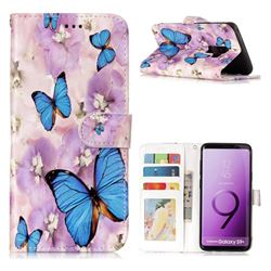 Purple Flowers Butterfly 3D Relief Oil PU Leather Wallet Case for Samsung Galaxy S9 Plus(S9+)