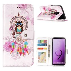 Wind Chimes Owl 3D Relief Oil PU Leather Wallet Case for Samsung Galaxy S9 Plus(S9+)