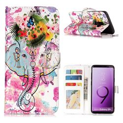 Flower Elephant 3D Relief Oil PU Leather Wallet Case for Samsung Galaxy S9 Plus(S9+)