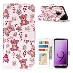 Cute Bear 3D Relief Oil PU Leather Wallet Case for Samsung Galaxy S9 Plus(S9+)