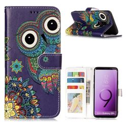 Folk Owl 3D Relief Oil PU Leather Wallet Case for Samsung Galaxy S9 Plus(S9+)