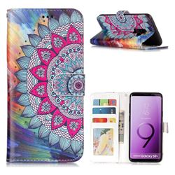 Mandala Flower 3D Relief Oil PU Leather Wallet Case for Samsung Galaxy S9 Plus(S9+)