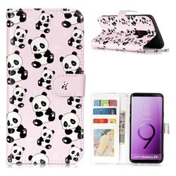 Cute Panda 3D Relief Oil PU Leather Wallet Case for Samsung Galaxy S9 Plus(S9+)
