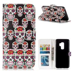 Flower Skull 3D Relief Oil PU Leather Wallet Case for Samsung Galaxy S9 Plus(S9+)