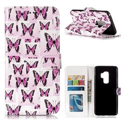 Butterflies Stickers 3D Relief Oil PU Leather Wallet Case for Samsung Galaxy S9 Plus(S9+)