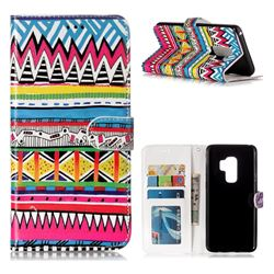 Tribal Pattern 3D Relief Oil PU Leather Wallet Case for Samsung Galaxy S9 Plus(S9+)