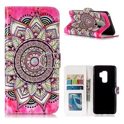 Rose Mandala 3D Relief Oil PU Leather Wallet Case for Samsung Galaxy S9 Plus(S9+)