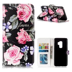 Peony 3D Relief Oil PU Leather Wallet Case for Samsung Galaxy S9 Plus(S9+)