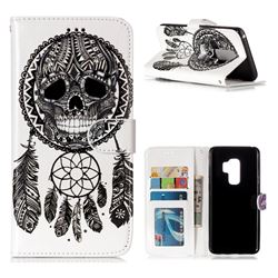 Wind Chimes Skull 3D Relief Oil PU Leather Wallet Case for Samsung Galaxy S9 Plus(S9+)