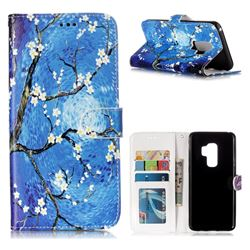 Plum Blossom 3D Relief Oil PU Leather Wallet Case for Samsung Galaxy S9 Plus(S9+)