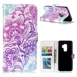 Purple Lotus 3D Relief Oil PU Leather Wallet Case for Samsung Galaxy S9 Plus(S9+)