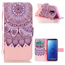 Purple Sunflower Leather Wallet Phone Case for Samsung Galaxy S9 Plus(S9+)