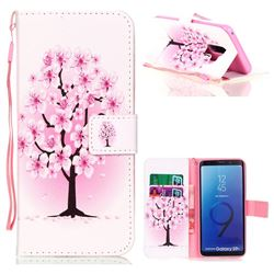 Peach Flower Leather Wallet Phone Case for Samsung Galaxy S9 Plus(S9+)