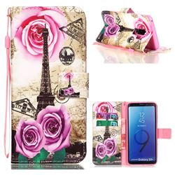 Rose Eiffel Tower Leather Wallet Phone Case for Samsung Galaxy S9 Plus(S9+)
