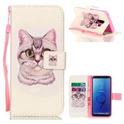 Lovely Cat Leather Wallet Phone Case for Samsung Galaxy S9 Plus(S9+)
