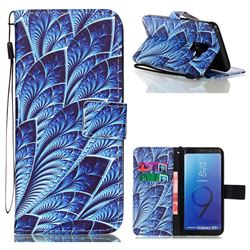 Blue Feather Leather Wallet Phone Case for Samsung Galaxy S9 Plus(S9+)