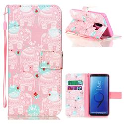 Pink Elephant Leather Wallet Phone Case for Samsung Galaxy S9 Plus(S9+)
