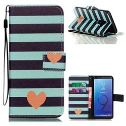 Blue Stripe Heart Leather Wallet Phone Case for Samsung Galaxy S9 Plus(S9+)