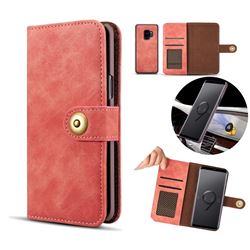 Luxury Vintage Split Separated Leather Wallet Case for Samsung Galaxy S9 Plus(S9+) - Carmine