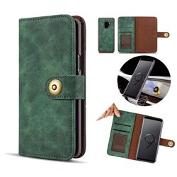 Luxury Vintage Split Separated Leather Wallet Case for Samsung Galaxy S9 Plus(S9+) - Dark Green