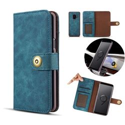 Luxury Vintage Split Separated Leather Wallet Case for Samsung Galaxy S9 Plus(S9+) - Navy Blue