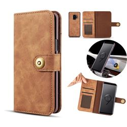 Luxury Vintage Split Separated Leather Wallet Case for Samsung Galaxy S9 Plus(S9+) - Brown