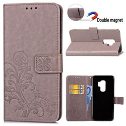 Embossing Imprint Four-Leaf Clover Leather Wallet Case for Samsung Galaxy S9 Plus(S9+) - Grey