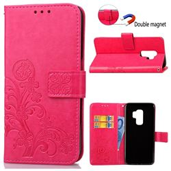 Embossing Imprint Four-Leaf Clover Leather Wallet Case for Samsung Galaxy S9 Plus(S9+) - Rose