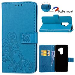 Embossing Imprint Four-Leaf Clover Leather Wallet Case for Samsung Galaxy S9 Plus(S9+) - Blue