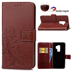 Embossing Imprint Four-Leaf Clover Leather Wallet Case for Samsung Galaxy S9 Plus(S9+) - Brown