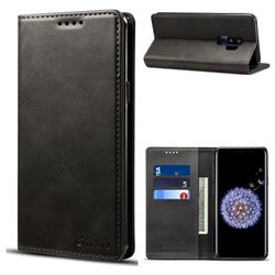 Suteni Simple Style Calf Stripe Leather Wallet Phone Case for Samsung Galaxy S9 Plus(S9+) - Black