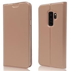 Ultra Slim Card Magnetic Automatic Suction Leather Wallet Case for Samsung Galaxy S9 Plus(S9+) - Rose Gold